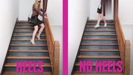 国外美女恶搞视频 穿高跟鞋的你vs穿平底鞋的你