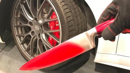 烧钱! 1000℃钢刀横切汽车轮胎, 国外质量都这样测?