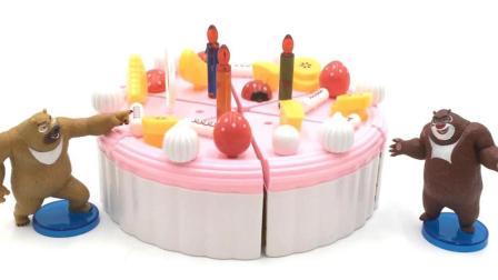 玩具SHOW熊出没 熊出没熊大熊二切蛋糕生日过家家 熊大熊二切蛋糕过家家