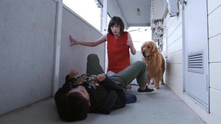 哈哈笑死我了, 这男人到底是该喜还是悲呢, 美女投怀送抱也就算了, 狗狗也来还撒了一泡尿