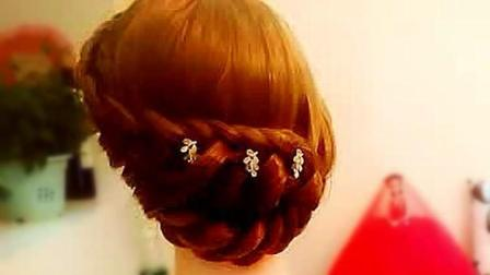 新娘盘头视频技巧编法发型教程一步一步教, 美发造型辫子扎发步骤