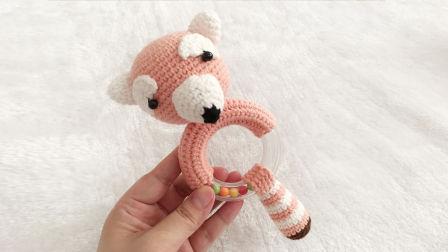 【小脚丫】小浣熊(3)毛线钩法毛线玩具的钩法小熊摇铃学钩玩偶毛线玩偶毛线摇铃编织方法图