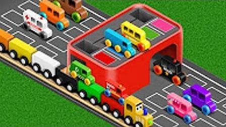 工程车玩具视频 不同颜色的小汽车 工程车装车视频