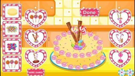 芭比做蛋糕小游戏七彩糖果蛋糕制作视频
