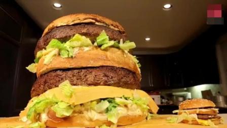 肌肉男小哥挑战吃比自己头还大的超级巨无霸汉堡