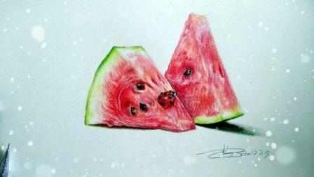 【艺达】超写实彩铅——夏日物语   西瓜与瓢虫