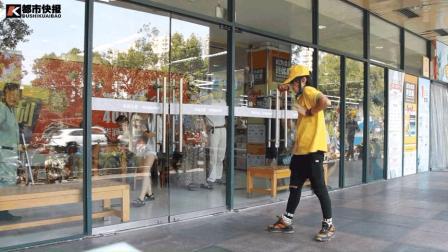99年猪肉小哥在杭州街头跳机械舞, 厉害了!