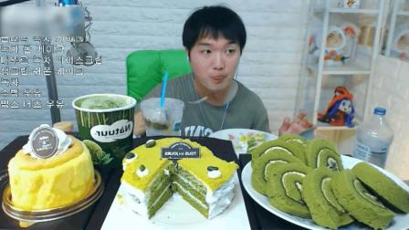 韩国大胃王吃抹茶蛋糕和抹茶冰激凌, 不愧是抹茶小哥哦!