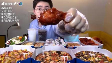 韩国眼镜小哥吃披萨炸鸡汉堡意面冰淇淋, 吃的一脸幸福