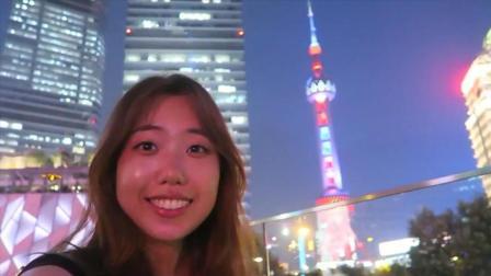 韩国美女被上海陆家嘴的繁华夜景所惊叹, 一直说不想离开, 中国很伟大