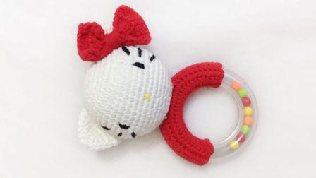 【小脚丫】KT猫(2)毛线钩法毛线玩具的钩法kt猫摇铃学钩玩偶毛线玩偶毛线摇铃钩织方法视频教程