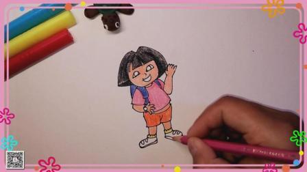 朵拉简笔画 卡通人物简笔画 简笔画教程 爱探险的朵拉简笔画