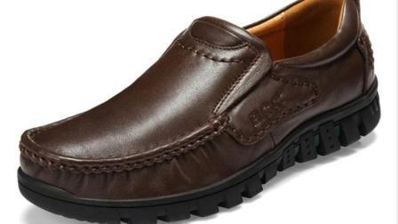 12021邦楚仕男士商务休闲皮鞋 中老年人秋冬套脚鞋子厚底大码男鞋