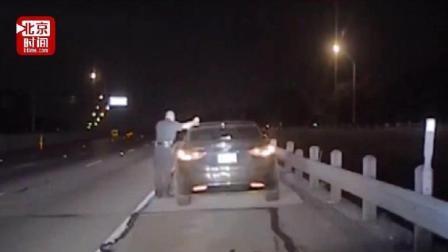 交警执法遭醉驾攻击, 被撞后带伤处理醉驾.