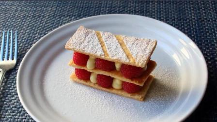 地道法式千层酥的制作教程来啦, 和西餐甜点大厨一起学做 香草蛋糕和覆盆子拿破仑酥