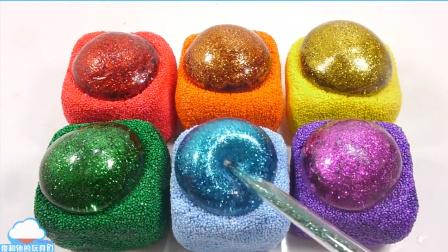 手工DIY 泡沫粘土胶水泥闪光水球颜色泥自制食玩布丁果冻求做法【 俊和他的玩具们
