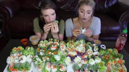 2个美国洋妞挑战200美元中国春卷, 结果吃到一半求网友放过