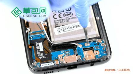 三星S8拆机更换充电接口 尾插 耳机接口教学教程GALAXY S8-草包网