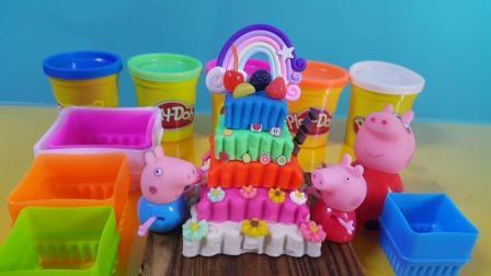 小猪佩奇做五层五彩生日蛋糕