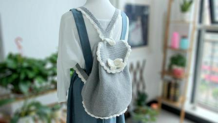织一片慢生活灰色蝴蝶结双肩包手工编织钩针视频教程作品秀