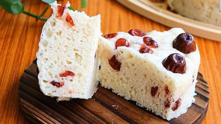 糕点自己做: 不用烤箱制作牛奶蔓越莓红枣发糕