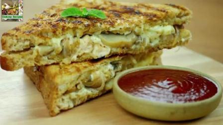 美味食谱: 鸡肉蘑菇芝士三明治