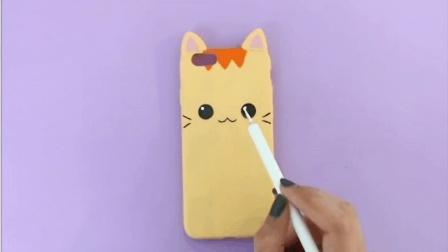 DIY手机壳教程第3集  手绘小黄猫