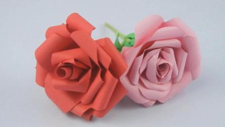 手工DIY玫瑰花-折纸做手工教程-一看就会