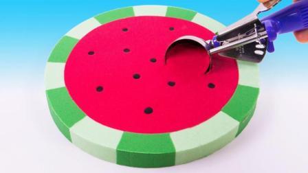 西瓜冰淇淋做起来一点也不难! 太空沙创意新玩法, 全程视频教程送给你!