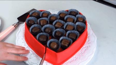 半手工自制心形巧克力奶油蛋糕