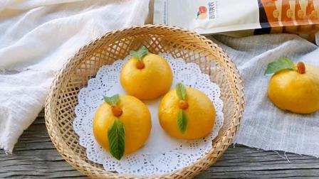 美食自己做: 这货不是橘子, 只是像橘子的枸杞豆沙包