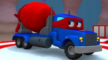 汽车总动员动漫 神奇的超级变形卡车卡尔变身翻斗车水泥搅拌车与起重机查理修建大桥