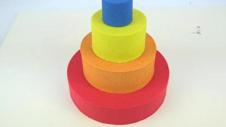 漂亮的拼色立体生日蛋糕 儿童太空彩沙彩泥粘土DIY手工制作