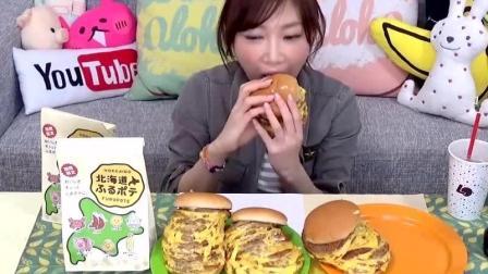 日本大胃王木下吃4个10层汉堡+2份薯条, 40块肉超大超满足