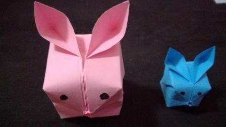 小兔子的折法, DIY纸艺折纸艺术工艺作品, 给你家的下朋友叠一个小动物玩玩吧!