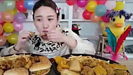 大胃王密子君吃薯条、炸鸡和汉堡, 再配上一杯可乐吃的真爽