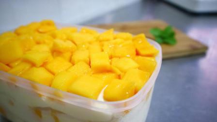 芒果大盒子蛋糕正确的切法, 这样切才好看又大