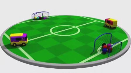 亮亮玩具学习颜色学英语,汽车足球赛动画,宝宝