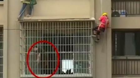 工人在22楼拆违建 被业主砍断保护绳