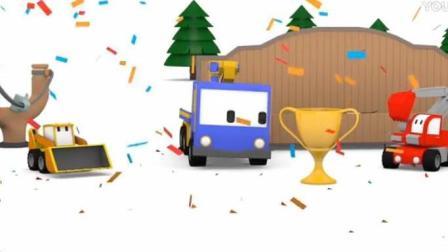 迷你卡车动漫 迷你挖掘机爱得 起重机查理 推土机比利建造弹弓射击场和组装棉花糖车