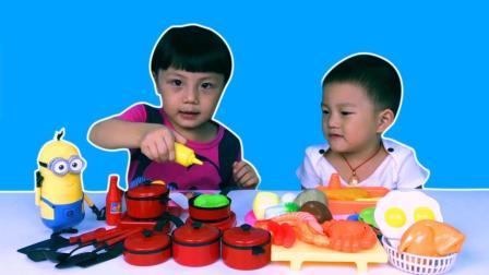 二胎趣事宝宝煮饭炒菜过家家厨房做饭玩具
