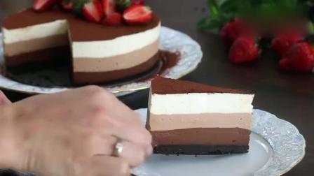 蛋糕制作教程, 免烤箱无果冻三重巧克力慕斯蛋糕, 恋爱甜点!