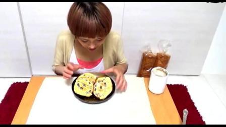日本大胃王: 美女吃火腿吐司、芝士吐司, 看着我都饿了