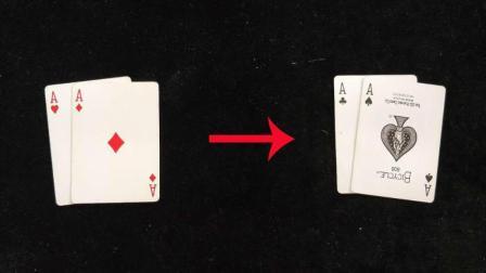 4张牌瞬间变化, 这样的纯手法魔术不揭秘看100遍也看不出破绽