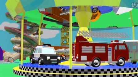 汽车总动员 卡车城动漫 平板大卡车建造旋转木马 工程车汤姆和马特组装铲雪车