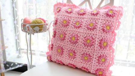 织一片慢生活 粉色花朵拼接甜美抱枕套