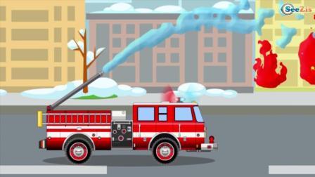 少儿益智消防车的动画片孩子视频编译包括救护车和急救车