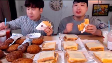 韩国吃播大胃王豪放派donkey兄弟吃吐司和烤面包
