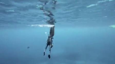 美女潜水员无氧气瓶深潜30米, 美的令人窒息