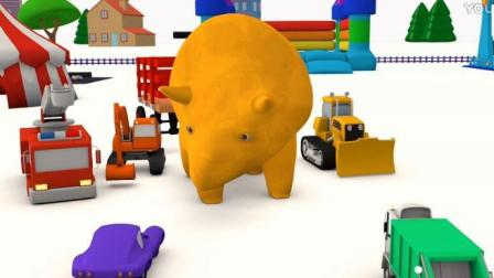 宝宝巴士恐龙世界 幼儿教育卡通 恐龙戴诺制作蛋糕 在嘉年华和卡车们学习颜色